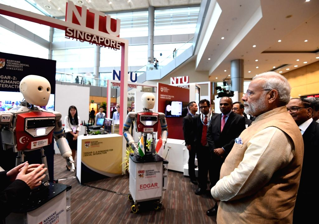 Prime Minister Narendra Modi visits the Nanyang Technological University in Singapore on June 1, 2018. - Narendra Modi