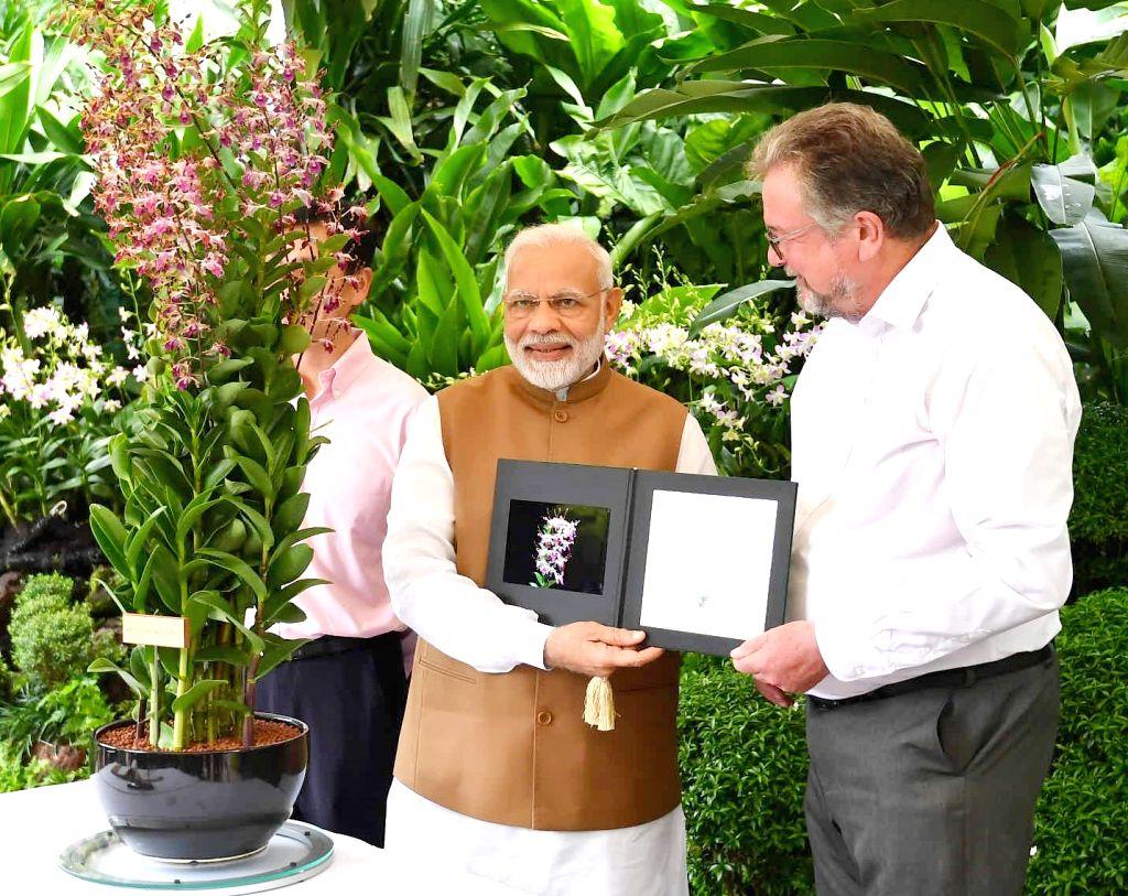 Prime Minister Narendra Modi visits the National Orchid Garden in Singapore on June 2, 2018. - Narendra Modi