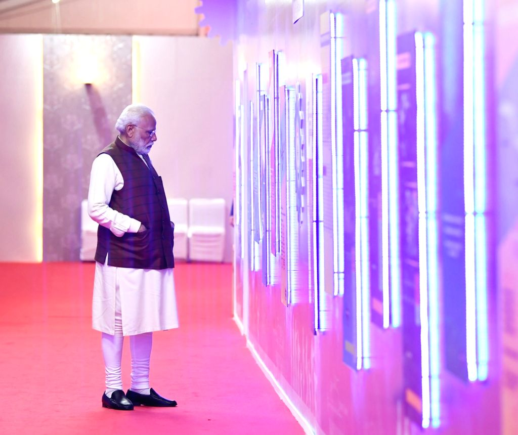 Prime Minister Narendra Modi visits the pavilions at the 11th edition of DefExpo2020 in Lucknow on Feb 5, 2020. - Narendra Modi