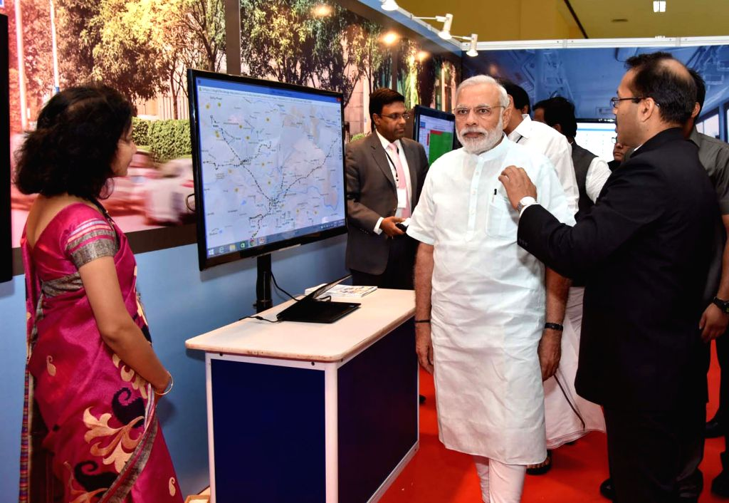 Prime Minister Narendra Modi visits the Smart Cities Exhibition, in Pune on June 25, 2016. - Narendra Modi