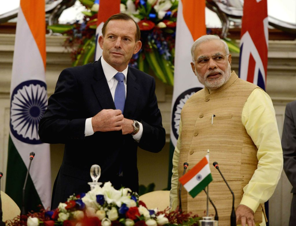 Prime Minister Narendra Modi with Australian Prime Minister Tony Abbott at Hyderabad House in New Delhi on Sept 5, 2014. - Narendra Modi