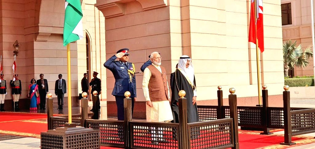 Prime Minister Narendra Modi with Bahrain Prime Minister Khalifa bin Salman Al Khalifa, during a ceremonial welcome accorded to him at Al Gudaibiya Palace in Manama, Bahrain on Aug 24, 2019. - Narendra Modi