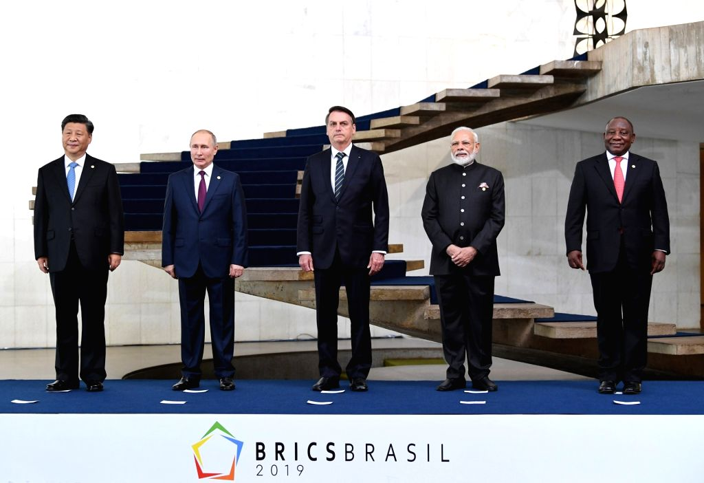 Prime Minister Narendra Modi with Chinese President Xi Jinping, Russian President Vladimir Putin, Brazilian President Jair Bolsonaro and South African President Cyril Ramaphosa at the 11th ... - Narendra Modi