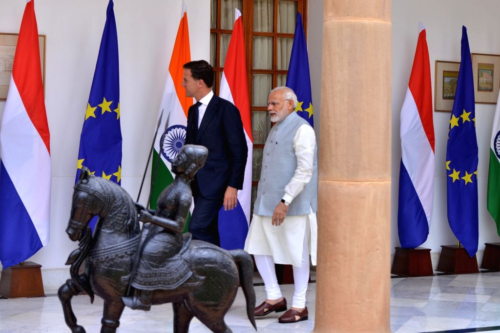Prime Minister Narendra Modi with his Dutch counterpart Mark Rutte ahead of a bilateral meeting, at Hyderabad House in New Delhi on May 24, 2018. - Narendra Modi