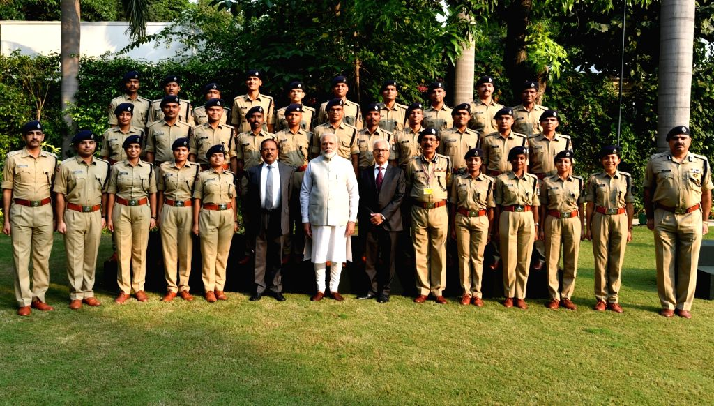 Prime Minister Narendra Modi with IPS Probationers of 2018 batch in New Delhi on Oct 9, 2019. - Narendra Modi
