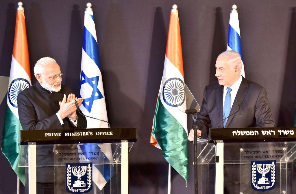 Prime Minister Narendra Modi with Israel Prime Minister Benjamin Netanyahu during a press meet in Jerusalem, Israel on July 5, 2017. - Narendra Modi