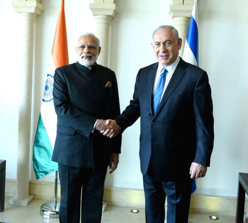 Prime Minister Narendra Modi with Israeli Prime Minister Benjamin Netanyahu, in Jerusalem, Israel on July 5, 2017. - Narendra Modi