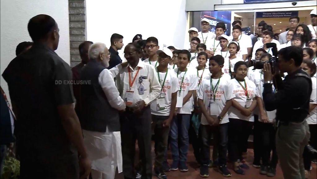 Prime Minister Narendra Modi with ISRO Chairman K Sivan before leaving ISRO Centre in Bengaluru on Sep 7, 2019. - Narendra Modi