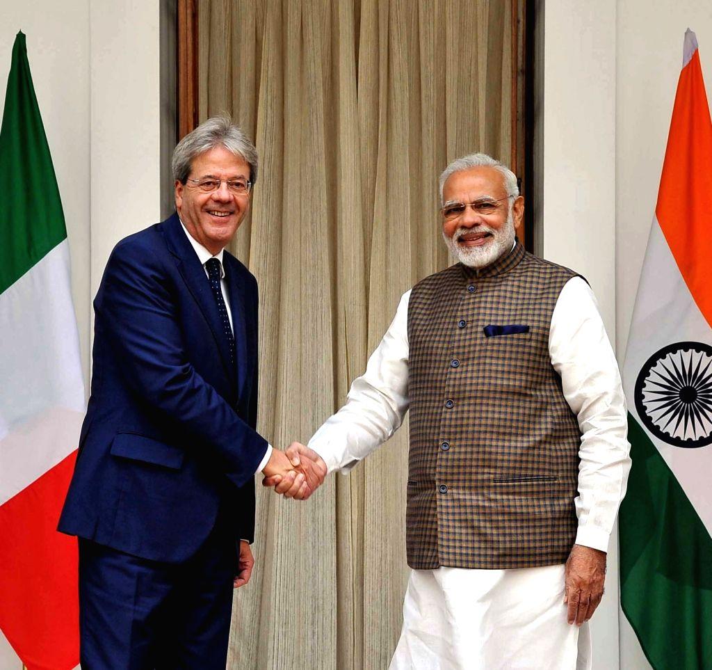 Modi with Italian Prime Minister Paolo Gentiloni at