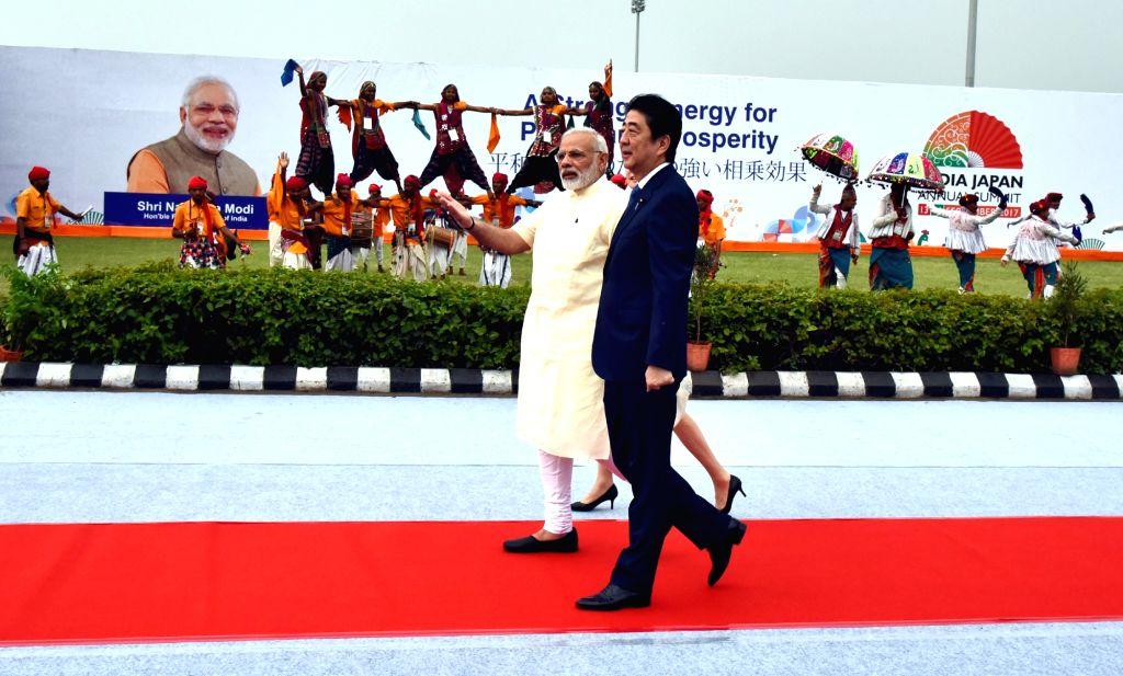 Prime Minister Narendra Modi with Japanese Prime Minister Shinzo Abe in Ahmedabad, Gujarat on Sept 13, 2017. - Narendra Modi