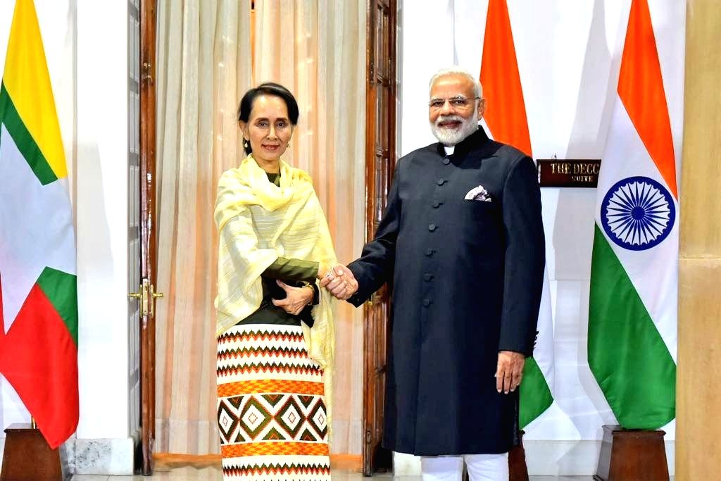 Prime Minister Narendra Modi with Myanmar State Counsellor Aung San Suu Kyi during a bilateral meeting in New Delhi on Jan 24, 2018. - Narendra Modi