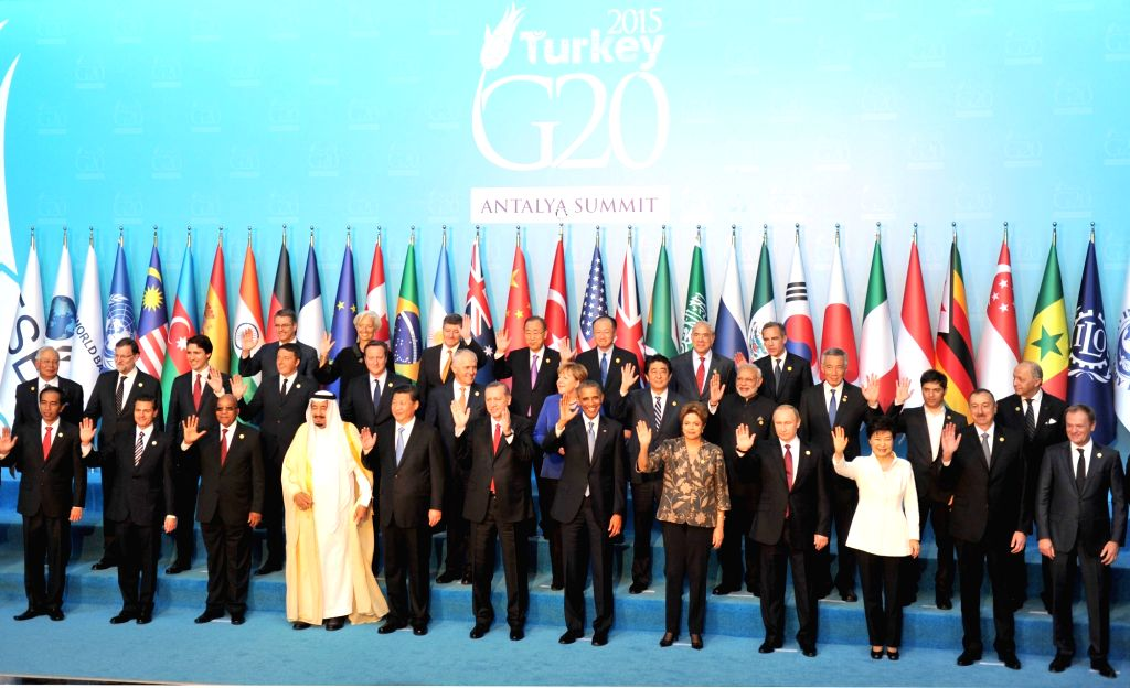 Prime Minister Narendra Modi with other leaders in the G-20 family photograph, at the G20 Turkey 2015, in Antalya, Turkey on Nov 15, 2015. - Narendra Modi
