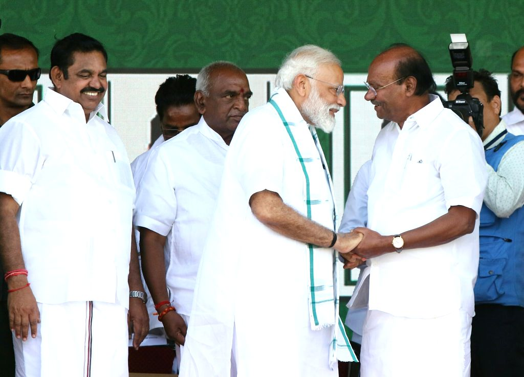 Prime Minister Narendra Modi with Pattali Makkal Katchi Founder Dr. S. Ramadoss during a meeting in Chennai on March 6, 2019. Also seen Tamil Nadu Chief Minister K. Palaniswami. - Narendra Modi