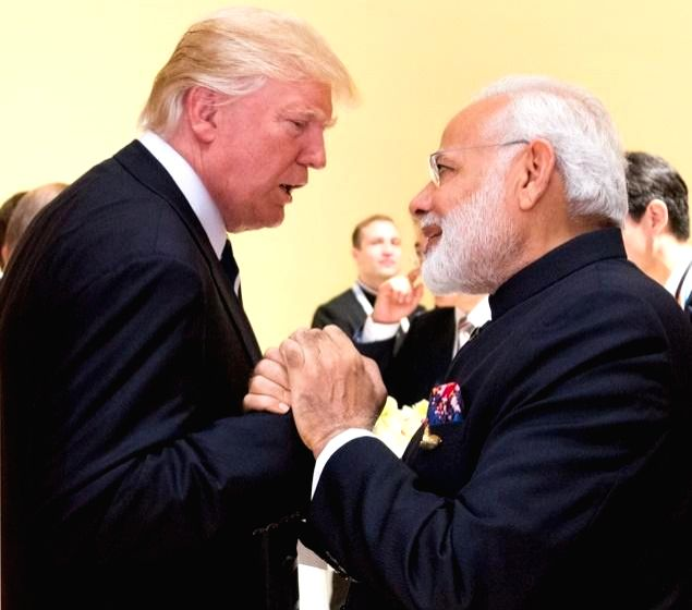 Prime Minister Narendra Modi with President Donald Trump when they met in Germany at the G20 summit in Germany on July 7, 2017. (Photo: White House/IANS) - Narendra Modi