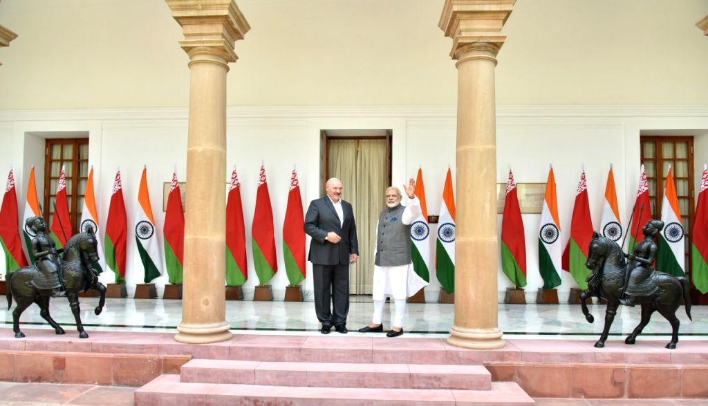 Prime Minister Narendra Modi with President of the Republic of Belarus Alexander Lukashenko at Hyderabad House in New Delhi on Sept 12, 2017. - Narendra Modi