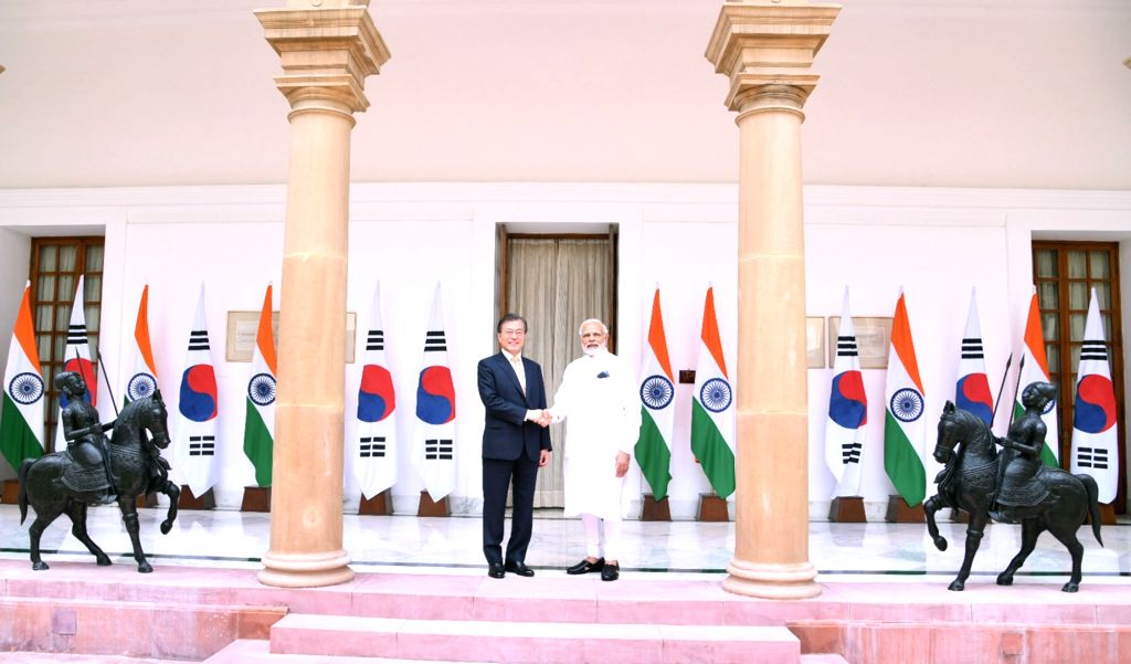 Prime Minister Narendra Modi with South Korean President Moon Jae-in at Hyderabad House,​ ​in New Delhi on July 10, 2018. - Narendra Modi