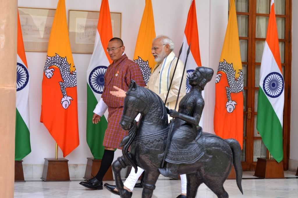 Prime Minister Narendra Modi with the Bhutan Prime Minister Tshering Tobgay, at Hyderabad House, in New Delhi, on July 6, 2018. - Narendra Modi