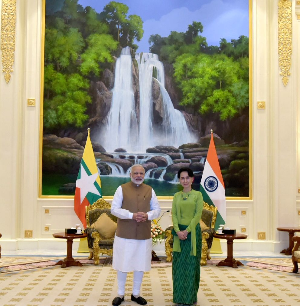Prime Minister Narendra Modi with the Myanmar's State Counsellor Aung San Suu Kyi, on his arrival, at Presidential Palace, in Naypyidaw, Myanmar on Sept 6, 2017. - Narendra Modi