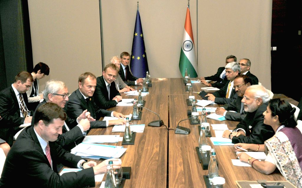 Prime Minister Narendra Modi with the President of the European Council, Donald Tusk and the President of the European Commission, Jean Claude Juncker in a bilateral meeting, on the sidelines ... - Narendra Modi