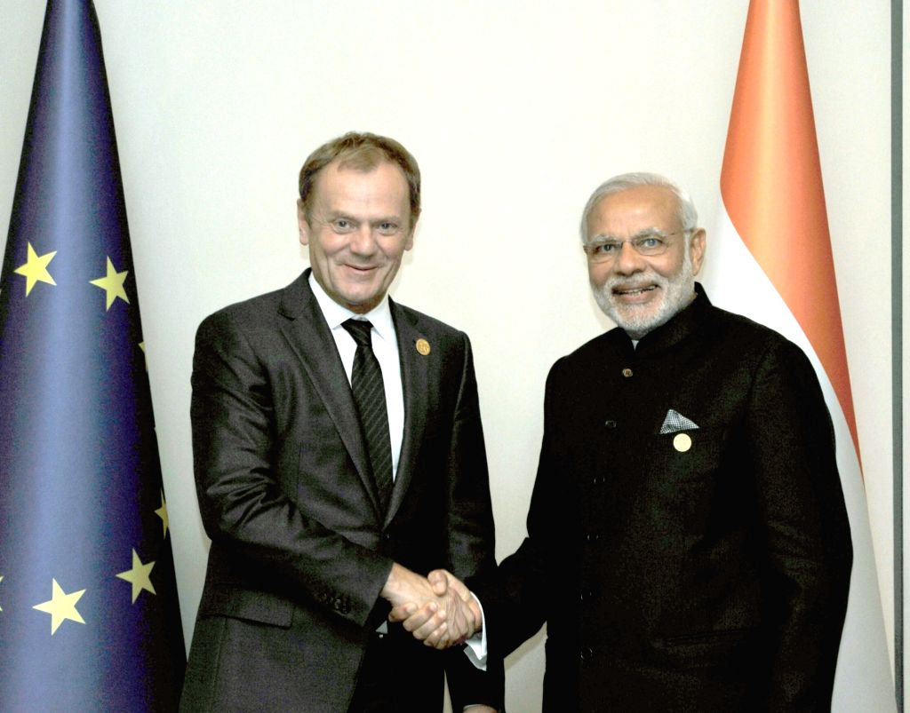 Prime Minister Narendra Modi with the President of the European Council, Donald Tusk in a bilateral meeting, on the sidelines of G20 Summit 2015, in Turkey on November 15, 2015. - Narendra Modi