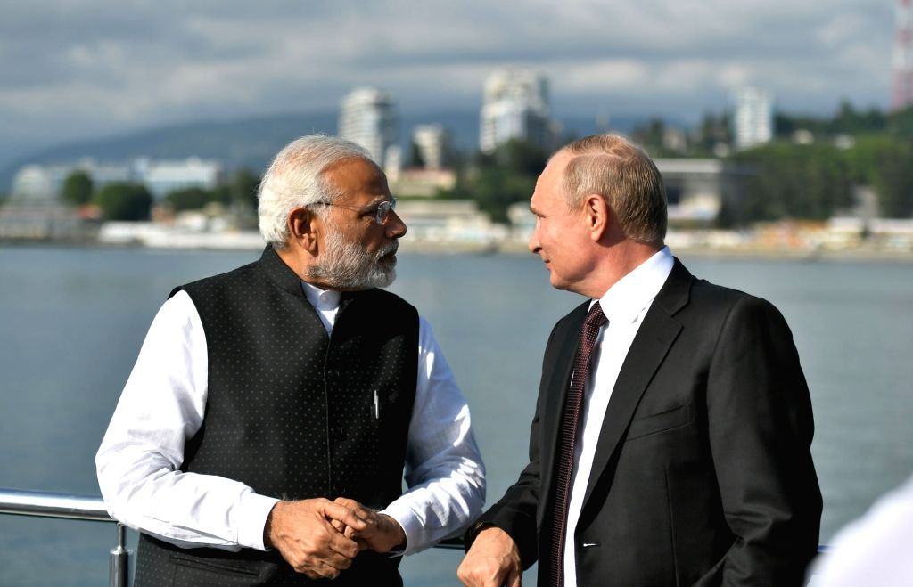 Prime Minister Narendra Modi with the Russian President Vladimir Putin in Sochi, Russia on May 21, 2018. - Narendra Modi