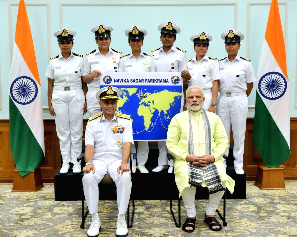 Prime Minister Narendra Modi with the six women officers of the Indian Navy who are due to circumnavigate the globe on the sailing vessel INSV Tarini in New Delhi on Aug 16, 2017. Also ... - Narendra Modi