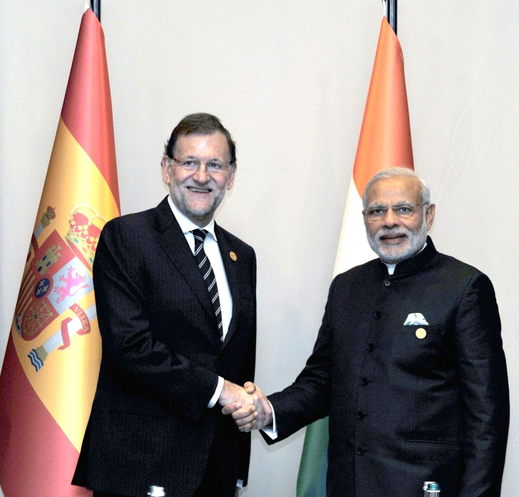 Prime Minister Narendra Modi with the Spain Prime Minister Mariano Rajoy in a bilateral meeting, on the sidelines of G20 Summit 2015, in Turkey on Nov. 16, 2015. - Narendra Modi