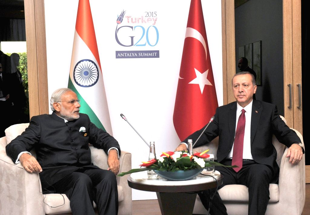 Prime Minister Narendra Modi with the Turkey President Recep Tayyip Erdogan in a bilateral meeting, on the sidelines of G20 Summit 2015, in Turkey on Nov. 16, 2015. - Narendra Modi