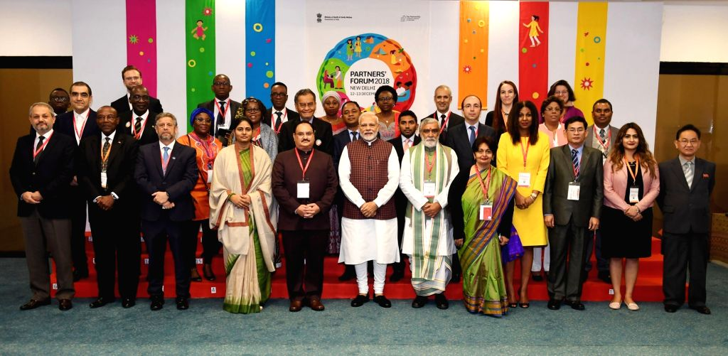 Prime Minister Narendra Modi with Union Health Minister J.P. Nadda, Union MoS Health Ashwini Kumar Choubey and other dignitaries at the inaugural ceremony of the Partners' Forum, in New ... - Narendra Modi and Ashwini Kumar Choubey