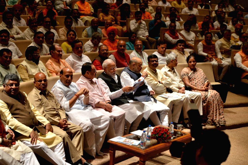 Prime Minister Narendra Modi with Union Ministers Ravi Shankar Prasad, Thawar Chand Gehlot, Rajnath Singh, JP Nadda, Amit Shah, Dharmendra Pradhan, Subrahmanyam Jaishankar and Nirmala ... - Narendra Modi, Ravi Shankar Prasad, Thawar Chand Gehlot, Rajnath Singh and Amit Shah