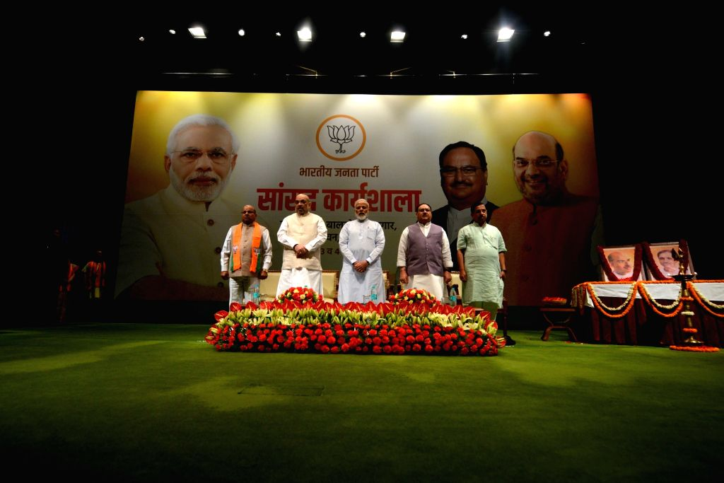 Prime Minister Narendra Modi with Union Ministers Amit Shah, Thawar Chand Gehlot and BJP Working President J.P. Nadda during the two-day compulsory orientation programme 'Abhyas Varga' ... - Narendra Modi, Ministers Amit Shah, Thawar Chand Gehlot and B
