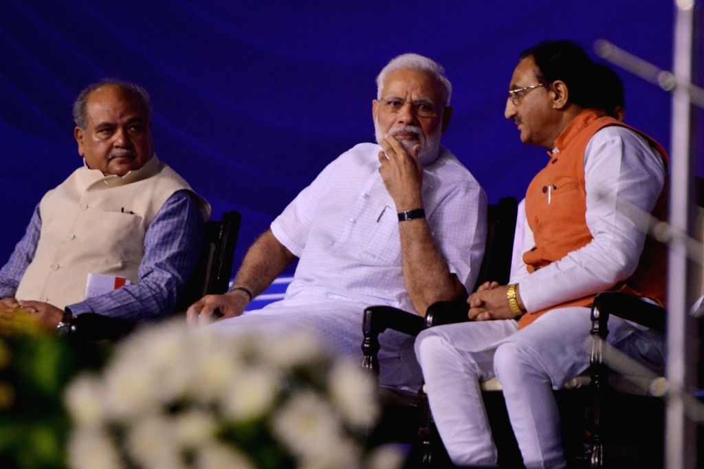 Prime Minister Narendra Modi with Union Ministers Ramesh Pokhriyal 'Nishank' and Narendra Singh Tomar at the launch of a nation-wide 'Fit India Movement' in New Delhi on Aug 29, 2019. - Narendra Modi, Ramesh Pokhriyal and Narendra Singh Tomar