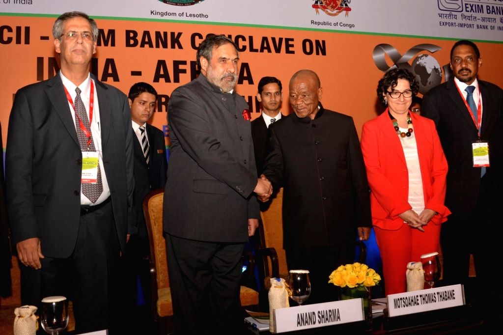 Prime Minister of Lesotho Thomas Motsoahae Thabane, Union Commerce and Industry Minister of India Anand Sharma and Noel N Tata at the inaugural session of  the `10 th CII-EXIM Bank Conclave on India . - Anand Sharma