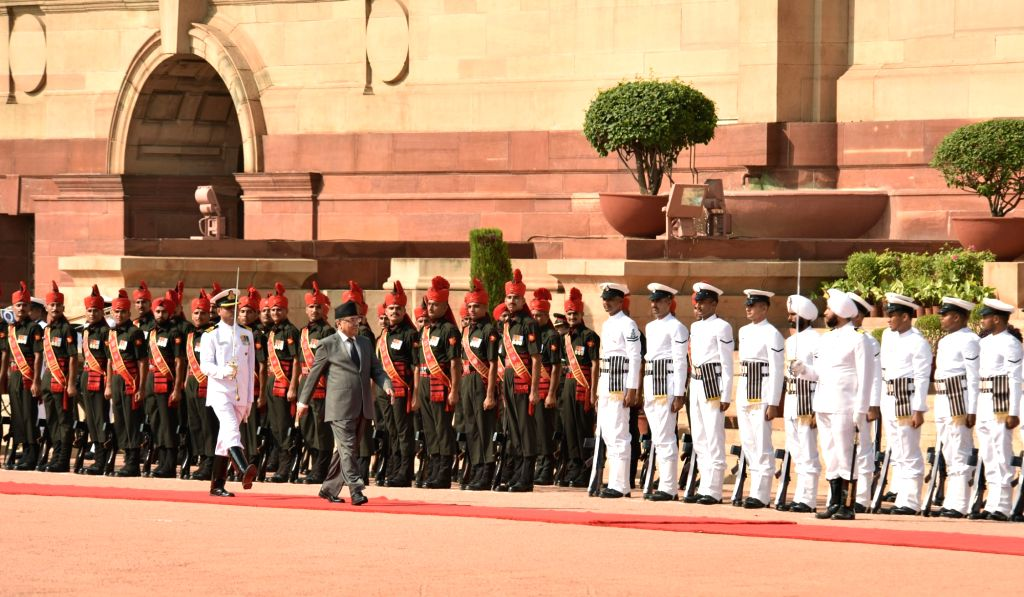 Prime Minister of Nepal Pushpa Kamal Dahal inspecting the Guard of Honour, at the Ceremonial Reception, at Rashtrapati Bhavan, in New Delhi on September 16, 2016.