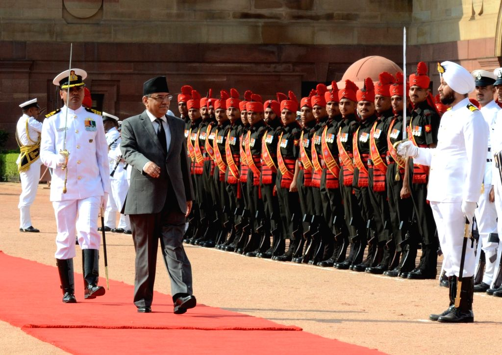Prime Minister of Nepal Pushpa Kamal Dahal inspecting the Guard of Honour, at the Ceremonial Reception, at Rashtrapati Bhavan, in New Delhi on Sept. 16, 2016.