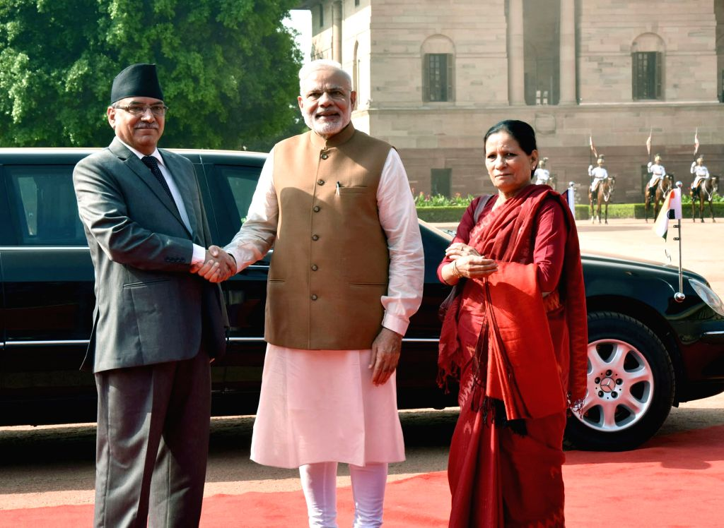 Prime Minister of Nepal Pushpa Kamal Dahal and Mrs. Sita Dahal being received by the Prime Minister Narendra Modi, at the Ceremonial Reception, at Rashtrapati Bhavan, in New Delhi on ... - Narendra Modi