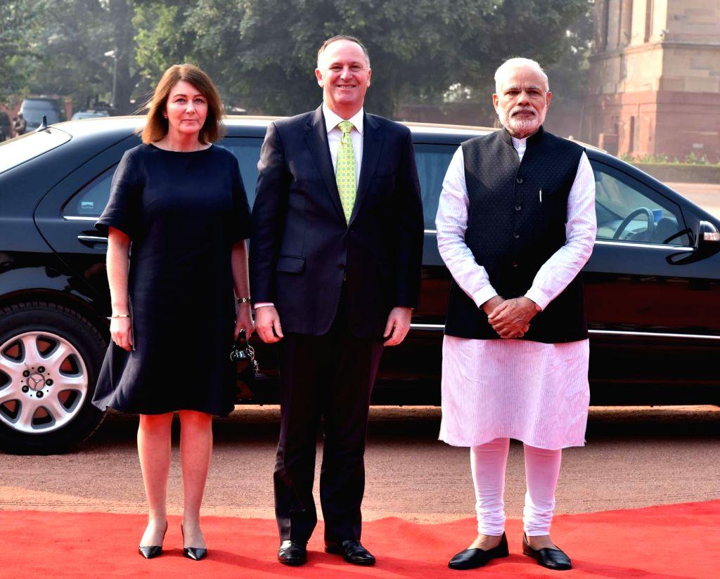 Prime Minister of New Zealand John Key being received by the Prime Minister Narendra Modi, at the ceremonial reception, at Rashtrapati Bhavan, in New Delhi on October 26. - Narendra Modi