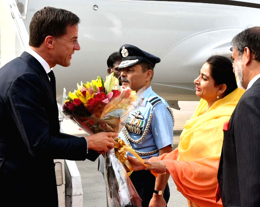 Prime Minister of the Kingdom of Netherlands, Mark Rutte being received by Union Food Processing Industries Minister Harsimrat Kaur Badal, on his arrival in New Delhi on May 24, 2018. - Harsimrat Kaur Badal