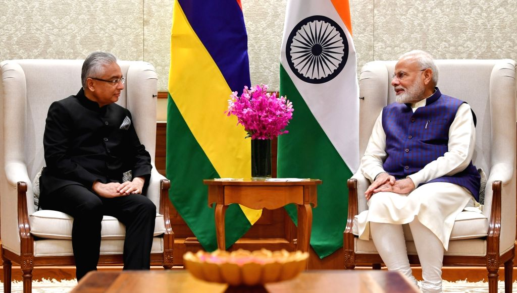 Prime Minister of the Republic of Mauritius, Pravind Kumar Jugnauth meets Prime Minister Narendra Modi in New Delhi on Dec 6, 2019. - Narendra Modi and Pravind Kumar Jugnauth