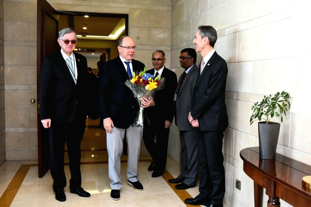 Prince Albert II, Head of State of Principality of Monaco being received on his arrival in New Delhi, on Feb 4, 2019.