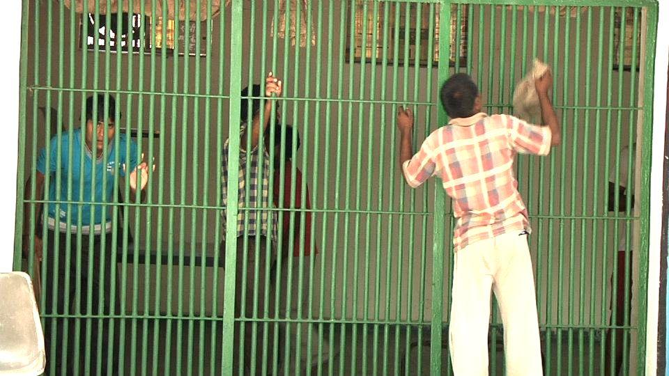 Prisoners in one of the barracks of Tihar Jail, New Delhi.
