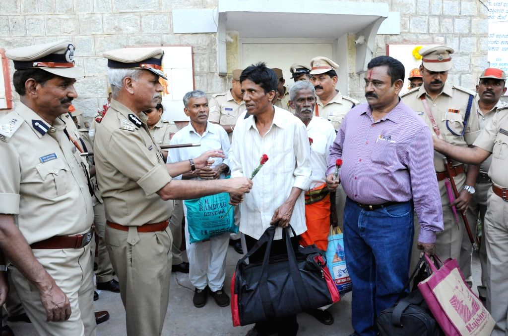 Prisoners who were released from Parappana Agrahara Central Prison on the basis of good conduct in Bengaluru on Sept 9, 2018.