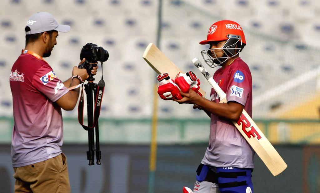 Prithvi Shaw of Delhi Daredevils during a practice session in Mohali on April 7, 2018.