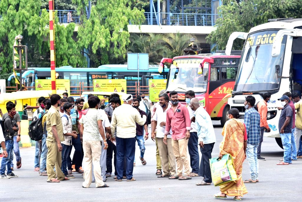 Private bus service for public at Majestic bus stand as the BMTC and KSRTC bus workers indefinite strike of road transport corporations (RTC) employees entered its 10th day, in Bengaluru ...