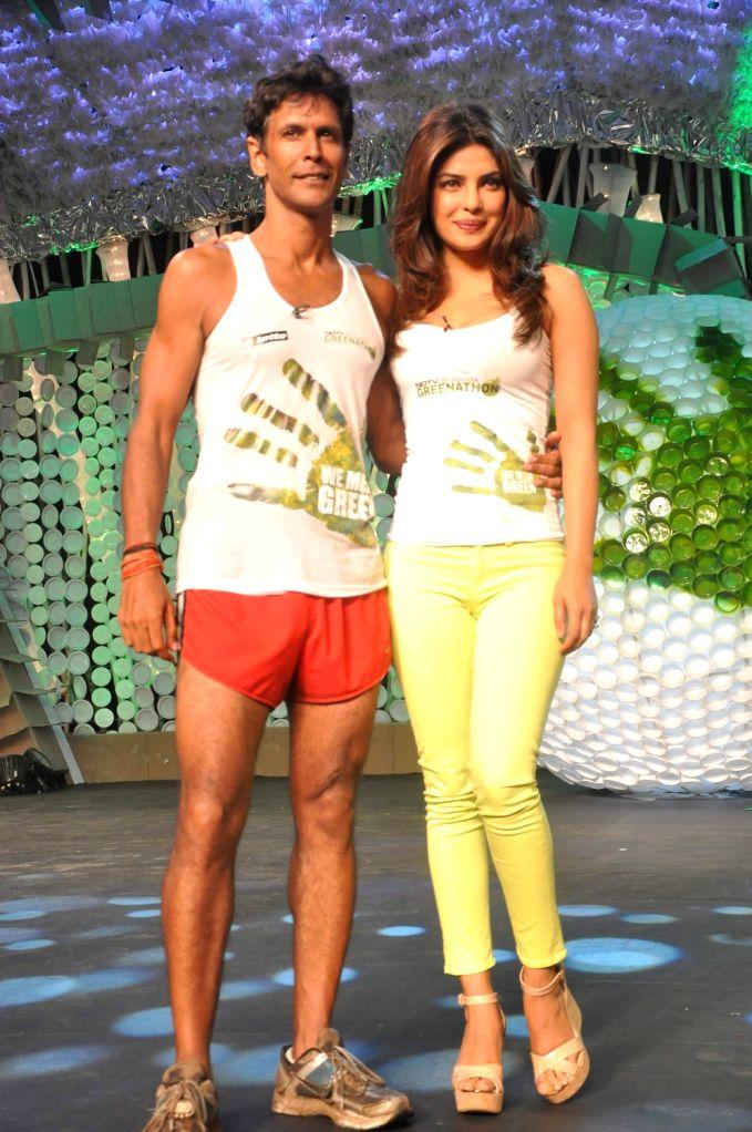 Priyanka Chopra and Milind Soman on NDTV Greenathon event in Mumbai. - Priyanka Chopra