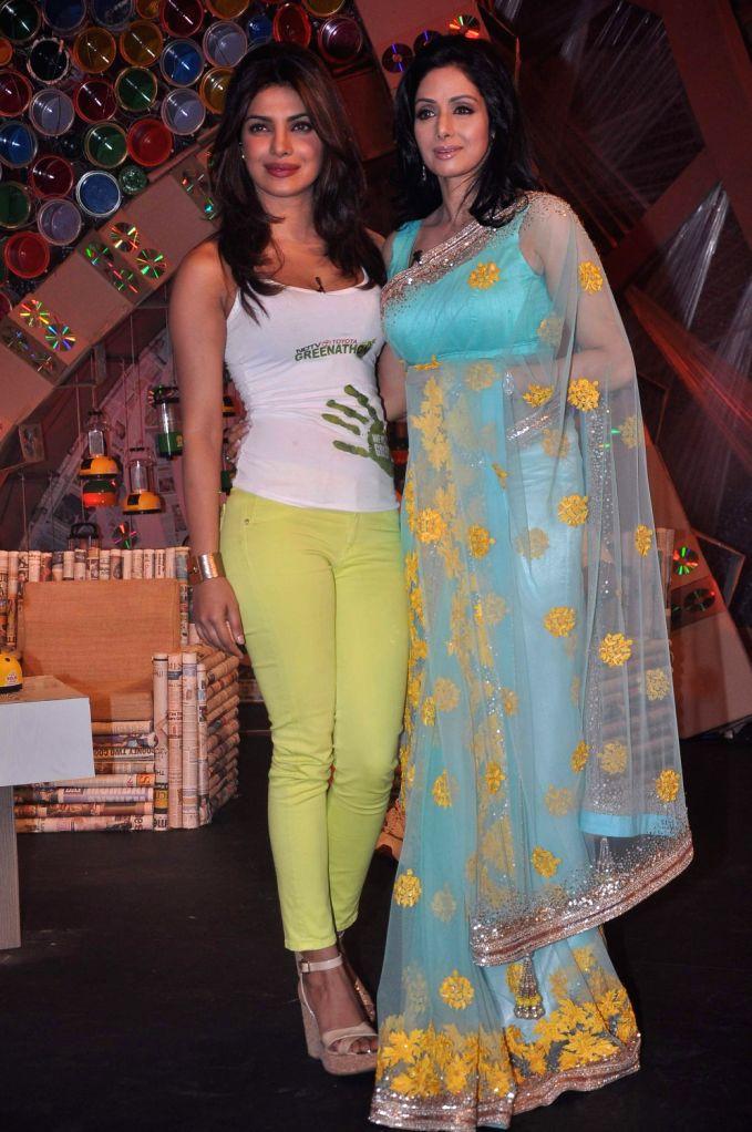 Priyanka Chopra and Sridevi on NDTV Greenathon event in Mumbai. - Priyanka Chopra