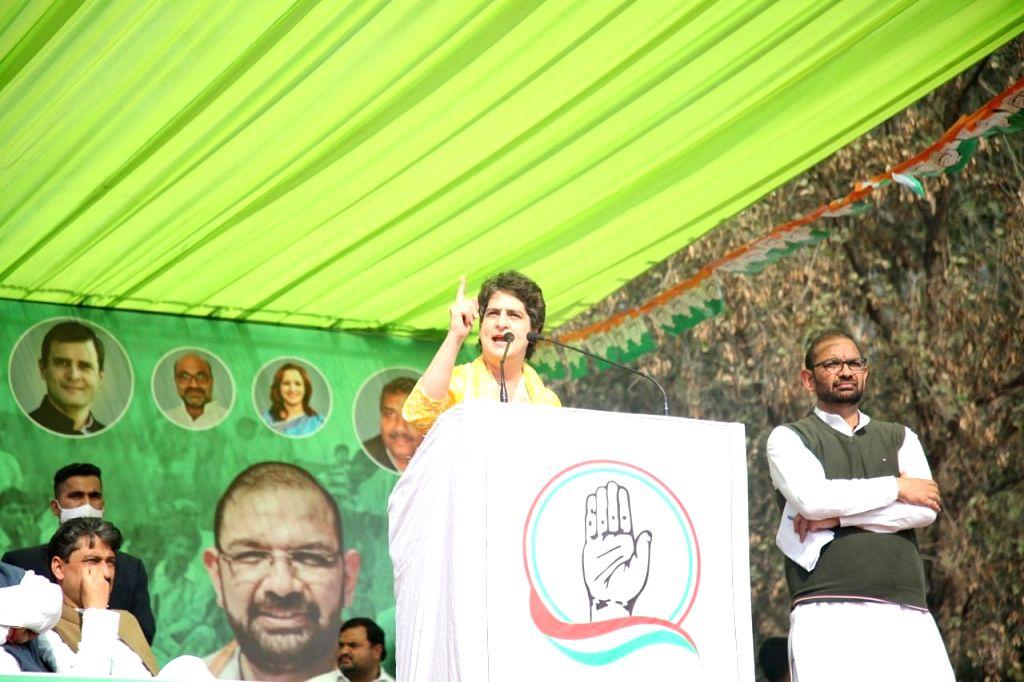 Priyanka Gandhi addressing Kisan Panchayat in Muzaffarnagar, UP. - Priyanka Gandhi