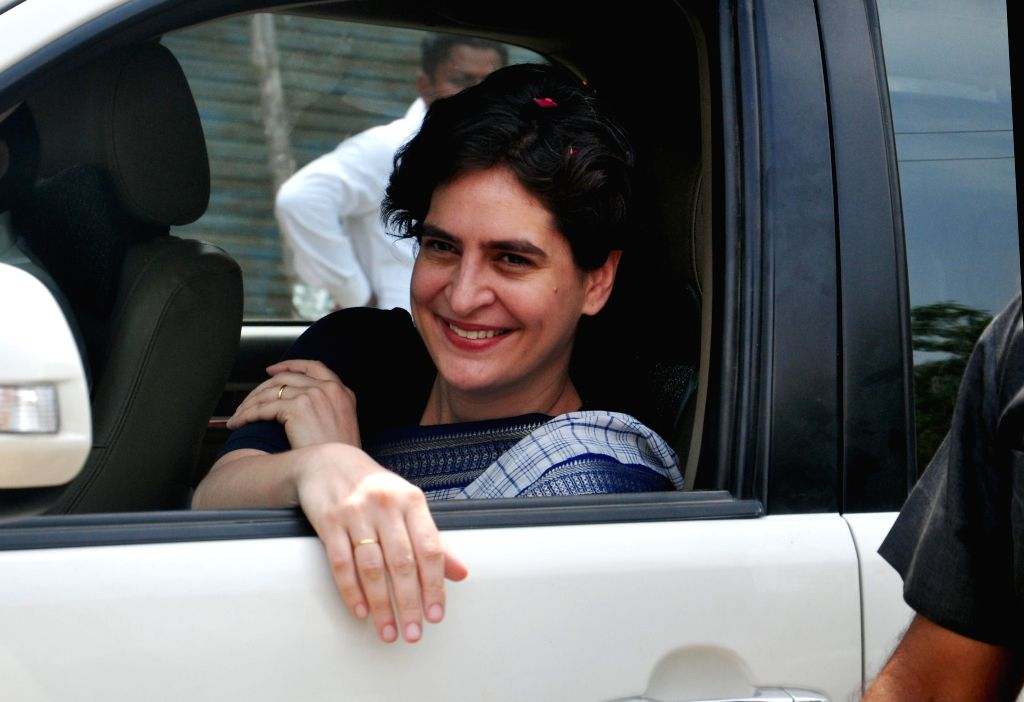 Priyanka Gandhi arrives in Rae Bareli to campaign for her mother and Congress chief Sonia Gandhi on April 16, 2014.
