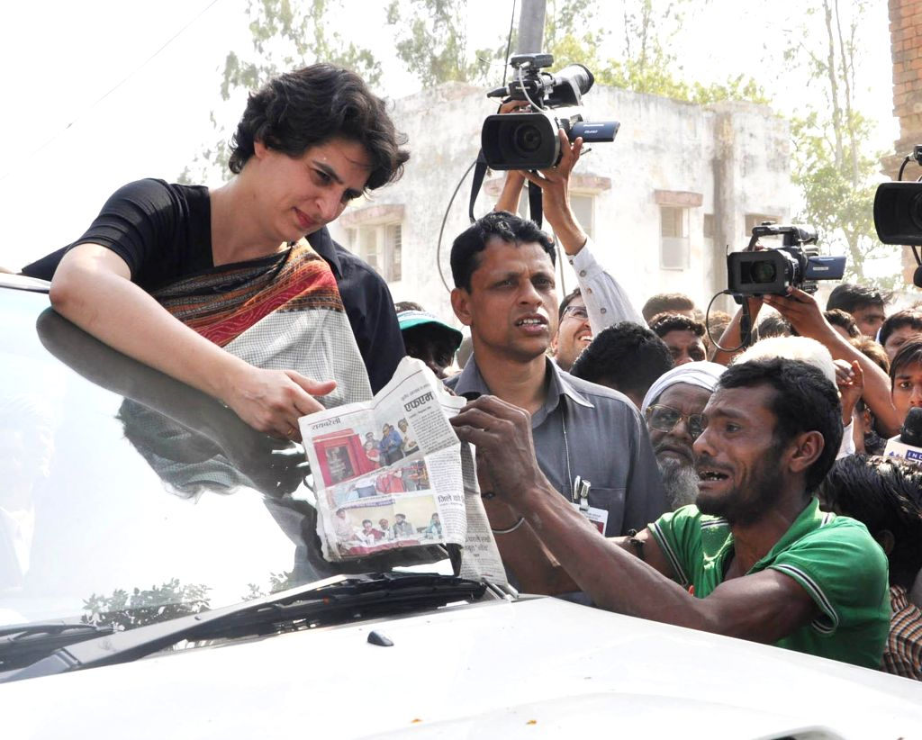 Priyanka Gandhi during an election campaign for her mother and Congress chief Sonia Gandhi in Rae Bareli on April 22, 2014.