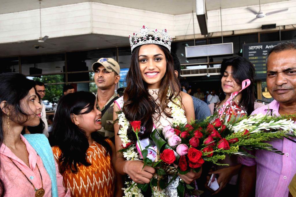 Priyanka Kumari, second runner-up Miss India 2017 arrives at Jay Prakash Narayan International Airport in Patna on July 1, 2017.